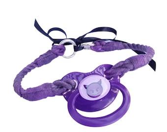 Purple Pacifier Rope Gag, ABDL, BDSM Gag