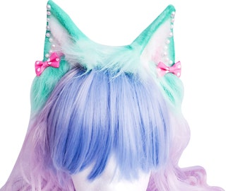 Pastel Mint Animal Ears, Cosplay, Pet Play Bendable Ears, Faux Fur Animal Ears