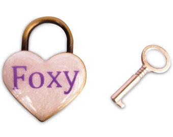 Foxy Heart Pad Lock, Resin Aluminum Heart Lock, Collar Closure Lock