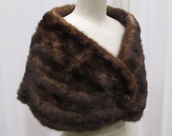 Vintage Dark Brown Fur Stole, 1950s or 1960s