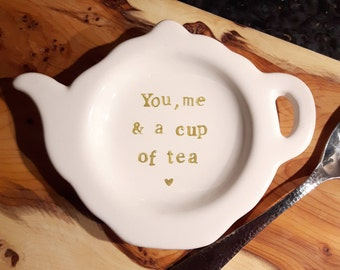 Teapot Tea Bag Holder Spoon Rest Thank You Friend Gift White Gold Kitchenware tea lover You, me and a cup of tea