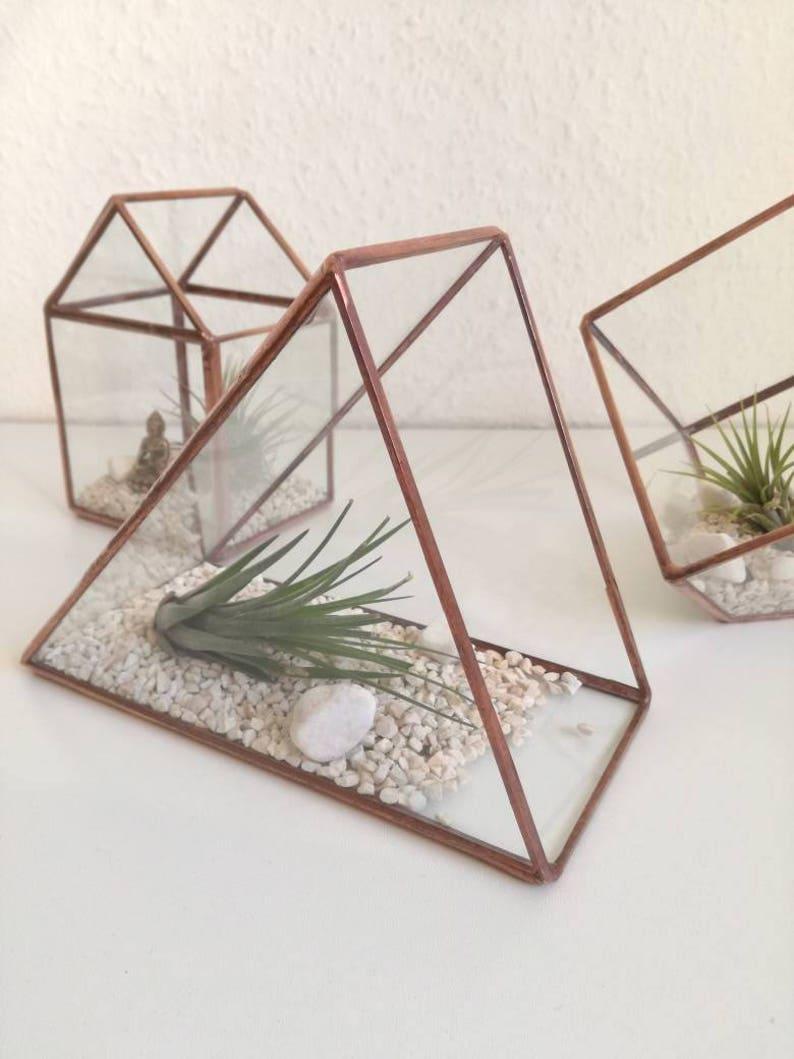 Triangle Copper Terrarium Glass Flower Pot Etsy
