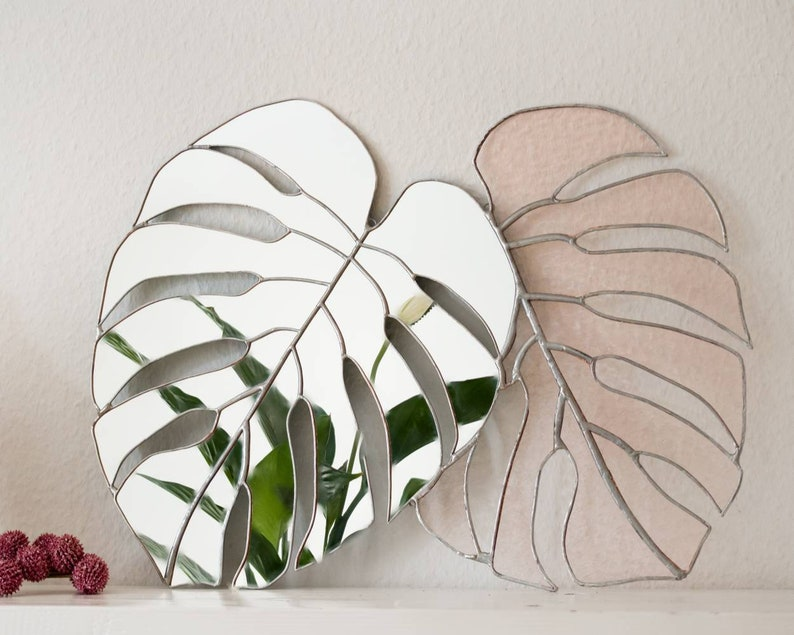 Monstera Stained Glass Mirror Unique Large Wall Mirror Pink
