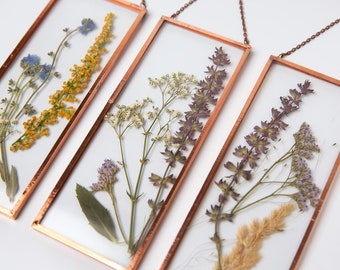 Framed Pressed Flower, Botanical Copper Frame, Gift for Mom, Bridesmaid unique gift, dried flowers