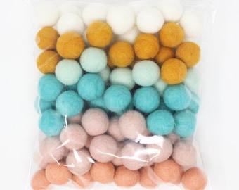 BoHo Palette Felt Balls | Wool Felt Pompoms Wholesale | BoHo DIY Felt Ball Garland | Bohemian Wool Felt Balls | Choose Color Quantity