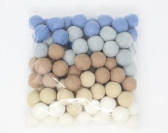Blueberry Shake Pom Balls | Boy Nursery Felt Balls for DIY Garland | Baby Boy Decor Felt Pom Poms | Choose color + quantity