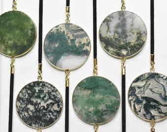 Green Moss Circle Geode Slice Artmark