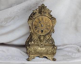 Antique Clock Brass Ormolu Mantle Mantel Shelf Clock