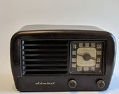Vintage Art Deco Bakelite Tube Radio Clock Admiral Super Aeroscope Working Collectible Retro Tube Radio Clock