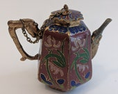 Chinese Cloisonné Miniature Tea Pot Asian Enamel Brass Figural Handle 6 Sided Covered Teapot Coffee Pot