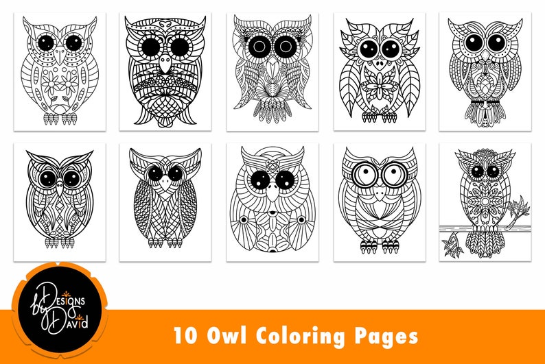 Owl Printable Coloring Pages for Adults and Children Great