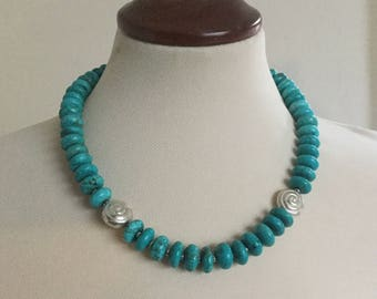 Turquoise Coloured Necklace, Boho Cottage Chic, Mussel Shaped Silver Focal Beads, Extension Chain, Sterling Silver Fastener