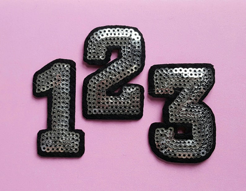 """Silver  Sequin  2/"""" Letter /""""R/"""" Iron On Embroidered Applique LETTERS"""