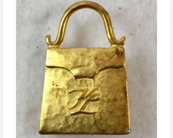 Vintage Estate KL Karl Lagerfeld Goldtone Purse Handbag Brooch Pin