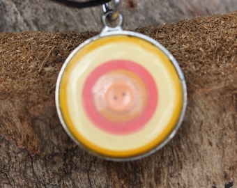 Quilled necklace with orange mini button focal in bezel - Orange/Yellow