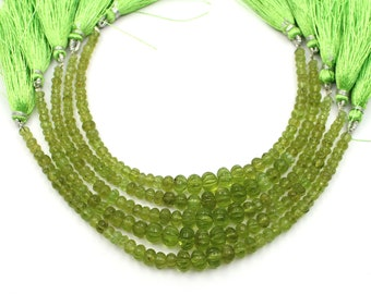 7 Inch Strand Peridot Carving Tiny Watermelon Rondelle Shape Beads 4-7.50mm Natural Green Peridot Smooth Gemstone  Beads