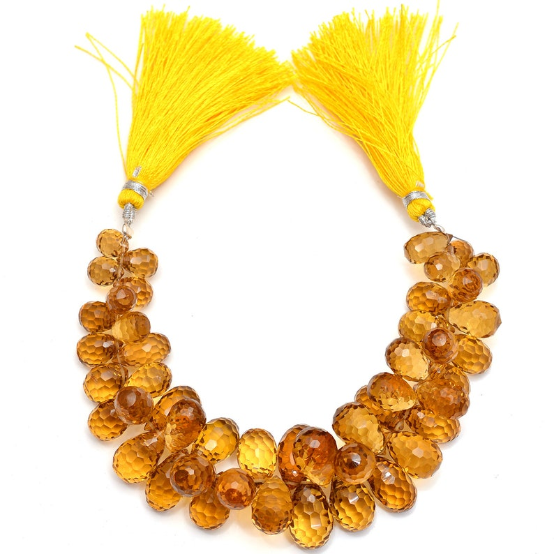 Natural Honey Quartz Drop Concave Cut Gemstone Beads 6/'/' Single Strand 8x11-12x20mm 234ct.