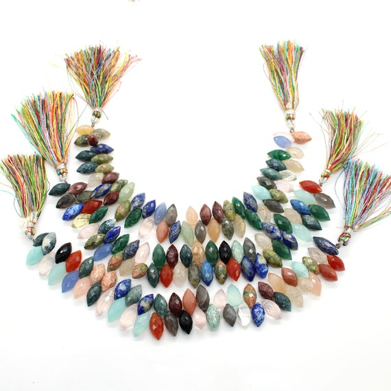 Natural Mix Gemstone Marquise Faceted Beads 7Strand 6x13-5x10mm Grain Faceted Disco Faceted Marquise Beads