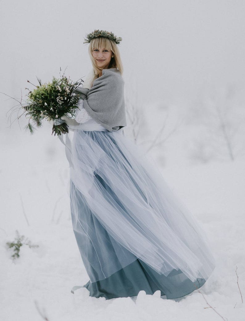 Long White /& Gray Mix Tulle Skirt Wedding Long Tulle Skirt 61 color Tulle Skirt Bridesmaids Women Tulle Skirt