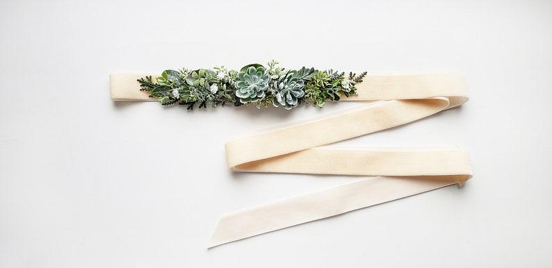 Greenery velvet belt Wedding sash belt Bridal sash belt Boho wedding belt Wedding floral sash Bridal flower sash Maternity Sash Succulent