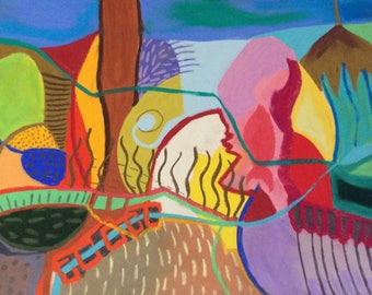 Original, organic shapes, colourful, abstract, intuitive painting/drawing