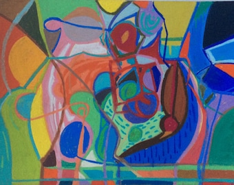 Original, colourful, expressive, abstract, intuitive, drawing/painting