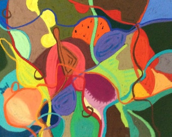 Original, colourful, organic, abstract, intuitive drawing/painting