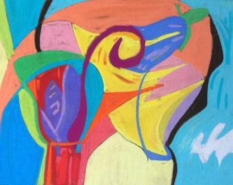Colourful, organic, abstract, intuitive, painting/drawing