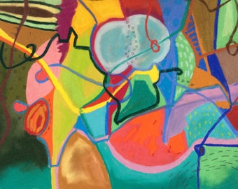 Original, colourful, organic shapes, abstract, intuitive, drawing/painting
