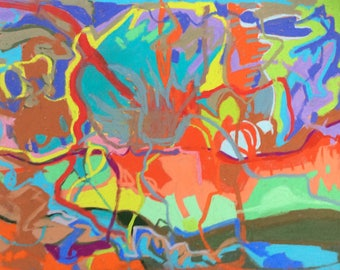 Original, colourful, abstract, intuitive, expressive, drawing/painting