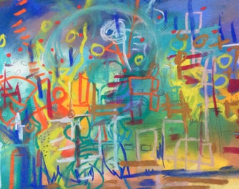 Original, colourful, abstract, intuitive painting/drawing