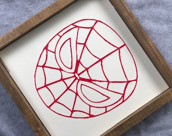 12x12 Spiderman Superhero Wood Framed Sign Avengers Character Kids Bedroom Decor Gift