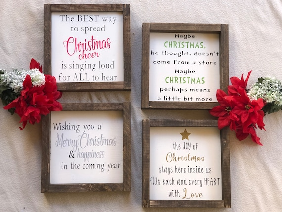 Christmas Grinch Quotes.9x9 Christmas Movie Quotes And Song Lyrics Wood Framed Signs Elf Grinch Merry Christmas Christmas Cheer Gift