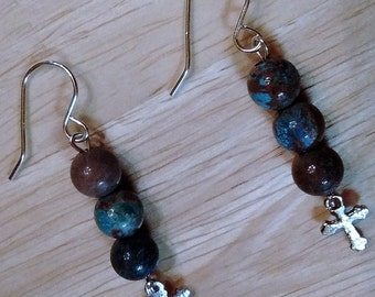 Sterling Silver French Dangle Earrings with Blue Crazy Lace Agate 8mm Beads and Tiny Cross Charm