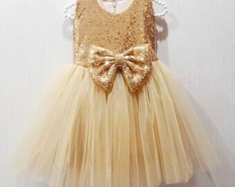 f19d995b947d Girls gold sequin dress