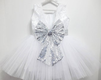 471740ee4828 Girls white lace party dress, girls white party dress, girls silver sequin  dress, 1st birthday dress, flower girl dress, baby party dress