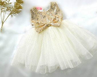 79909ffb96823 Girls gold sequin dress, girls gold sparkle dress, 1st birthday dress, girls  ivory dress, flower girl dress, toddler party dress, baby dress