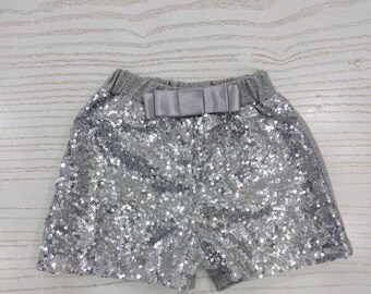 Girls silver sequin shorts, toddler sparkle shorts, girls glitter shorts,  birthday outfit, sequin clothing 5846ffefd3