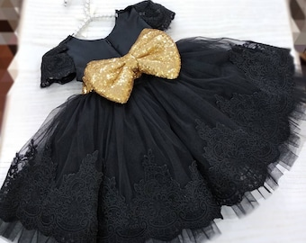 a3a9d94290fb0 Girls black gold party dress, girls lace tulle dress, baby luxury party  dress, flower girl dress, first birthday dress, toddler sequin dress