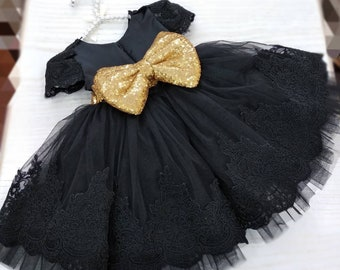 49075dcf3507 Girls black gold party dress, girls lace tulle dress, baby luxury party  dress, flower girl dress, first birthday dress, toddler sequin dress