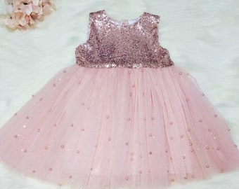4d71dd7f7ced Girls rose gold sequin pearl tulle dress