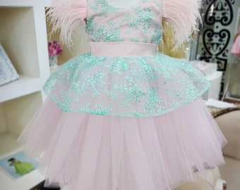 00ab1e52465 Girls mint lace pink tulle party dress