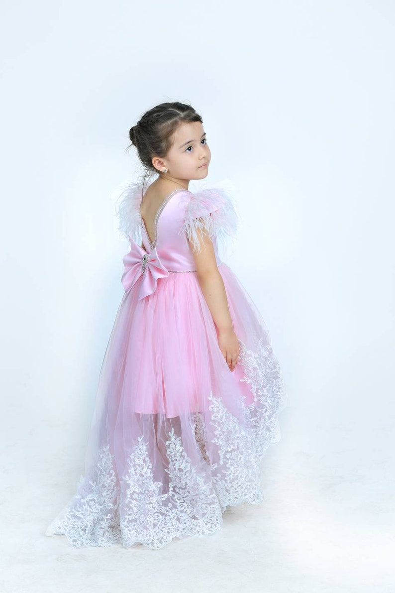 02ed0297241 Girls luxury pink party dress girls lace tulle dress flower
