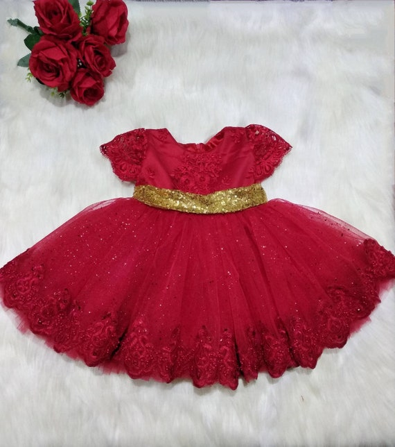 Girls red lace party dress, baby red lace gold bow party dress, toddler  party dress, flower girl dress, birthday outfit, 1st birthday dress