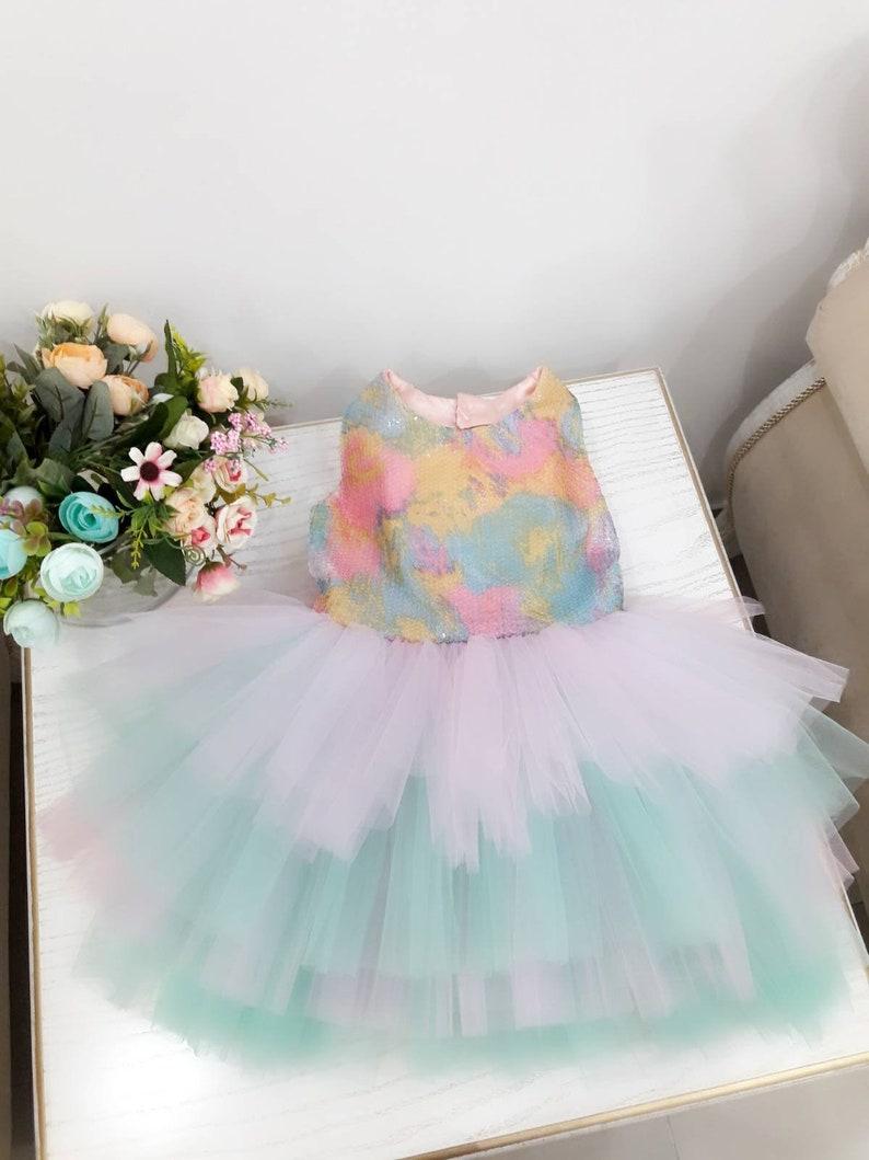 Mädchen Einhorn Party Kleid, Blumenmädchen Kleid, Kleinkind Geburtstag  Kleid, Mädchen Pailletten kleid, Mädchen Regenbogen Party Kleid,  Blumenmädchen ...