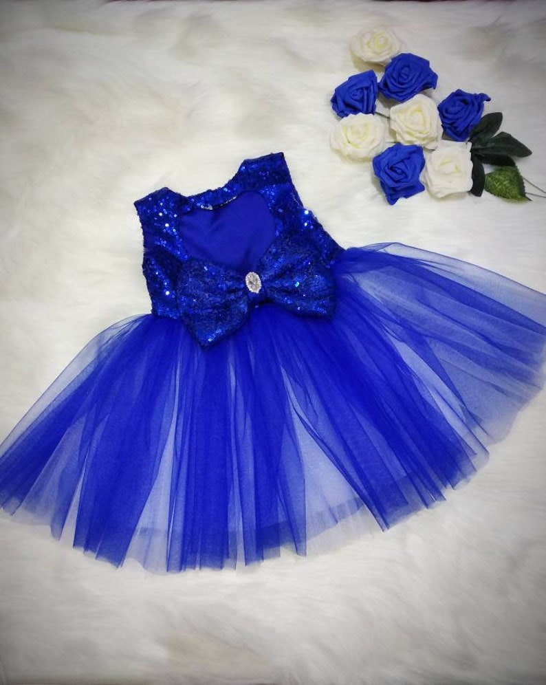 FillesFilles Robe Fille RobeD'anniversaire Fleur Bleu 1erDe Les Sequin Soirée Roi OkPuZiTX
