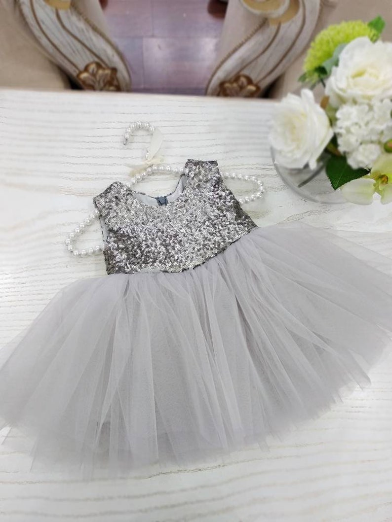 c561b3c86 Girls sequin dress girls charcoal party dress 1st birthday