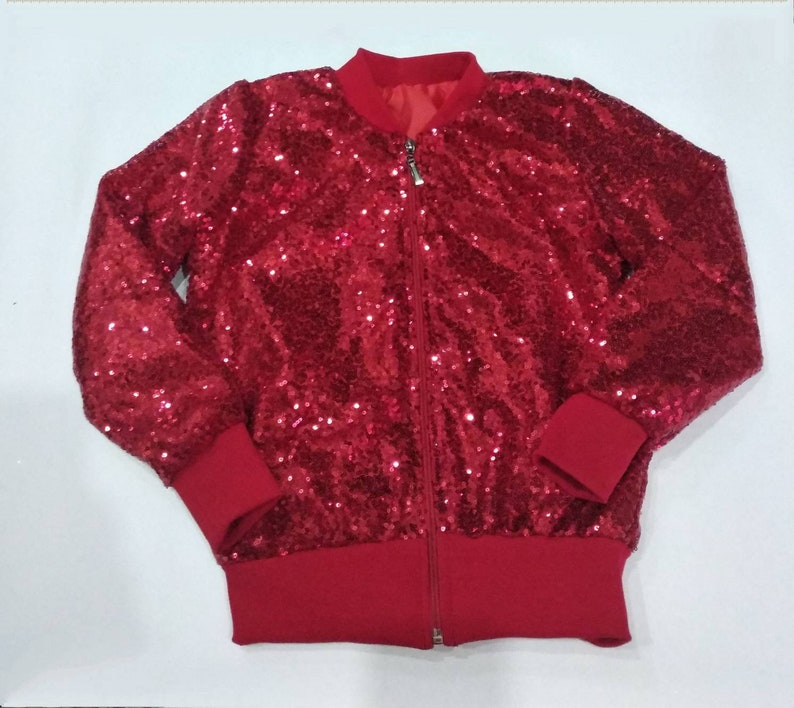 5a4972c7a Girls red sequin jacket girls sparkle bomber red sequin | Etsy