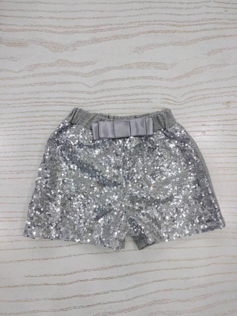 ea426e7b2e10 Girls silver sequin shorts toddler sparkle shorts girls   Etsy