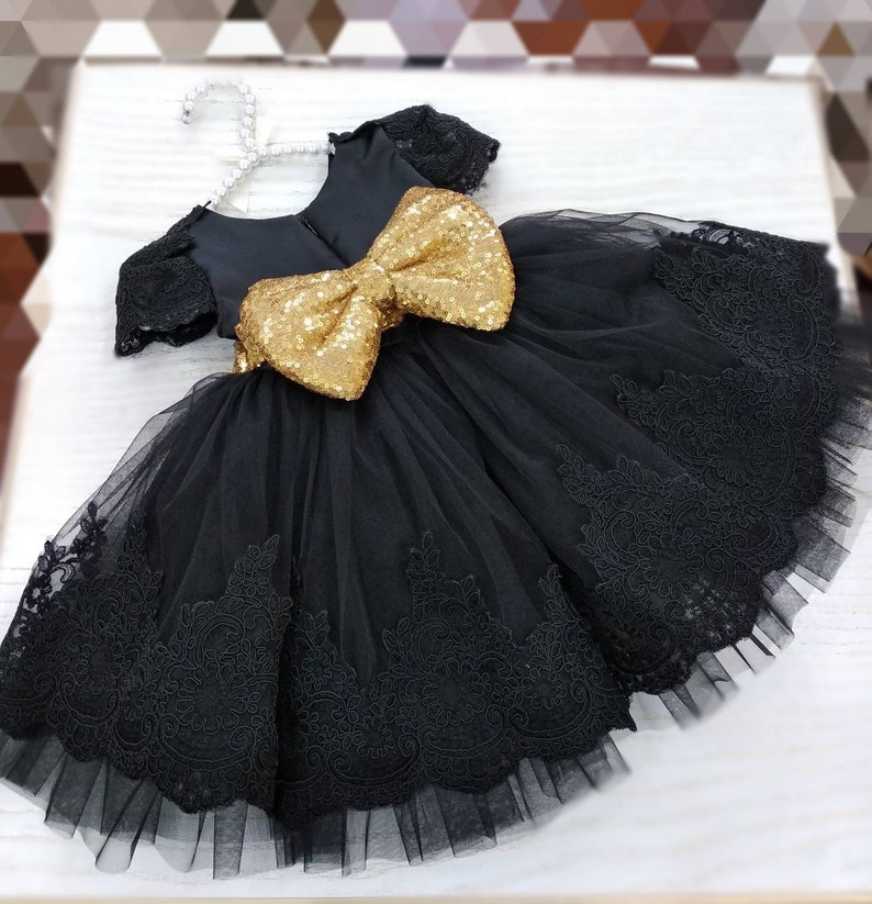 83864569 Girls black gold party dress girls lace tulle dress baby | Etsy